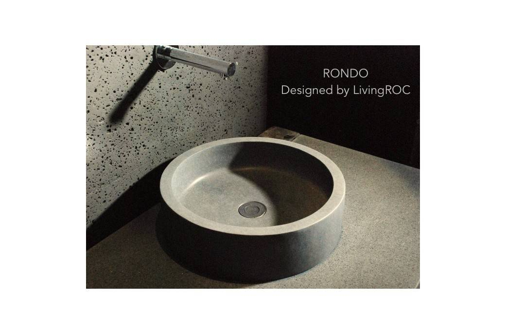LivingRoc Vasque ronde en pierre grise basalte salle de bain RONDO