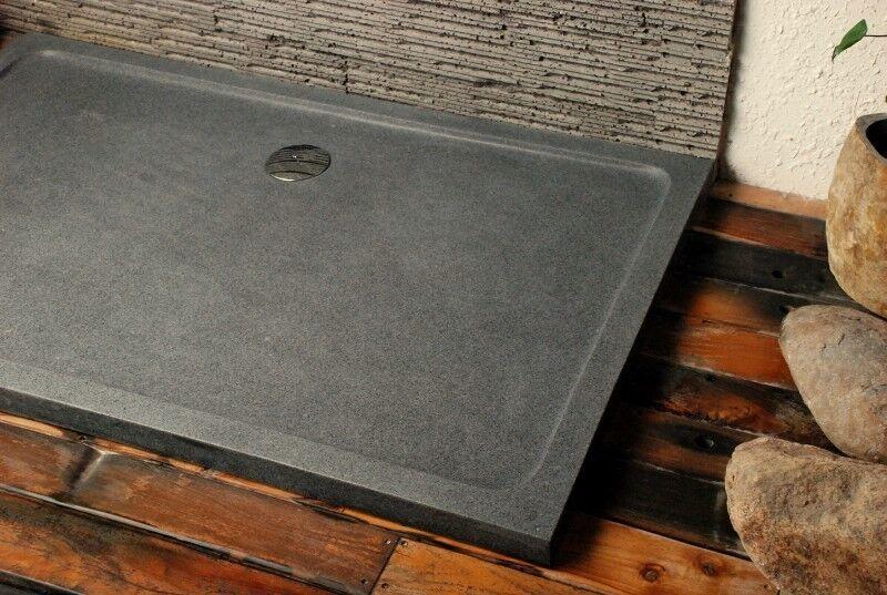 LivingRoc Receveur de douche à l'italienne Granit 140x100 pierre véritable PALM