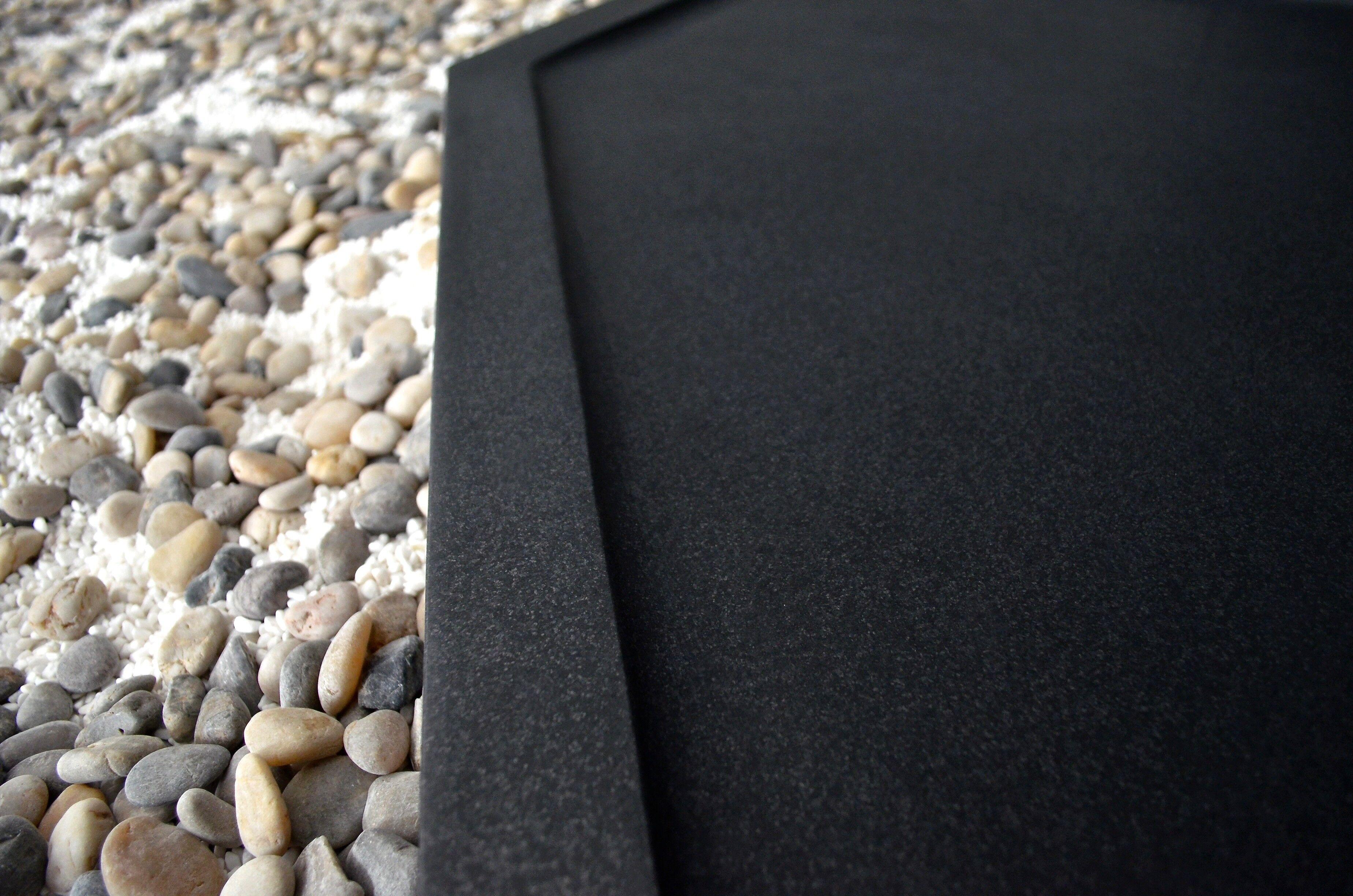LivingRoc Receveur de douche à l'italienne 140x100 granit noir PALM SHADOW