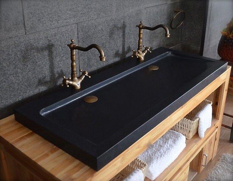 LivingRoc Double vasque en pierre salle de bain Granit Noir Luxe LOVE SHADOW