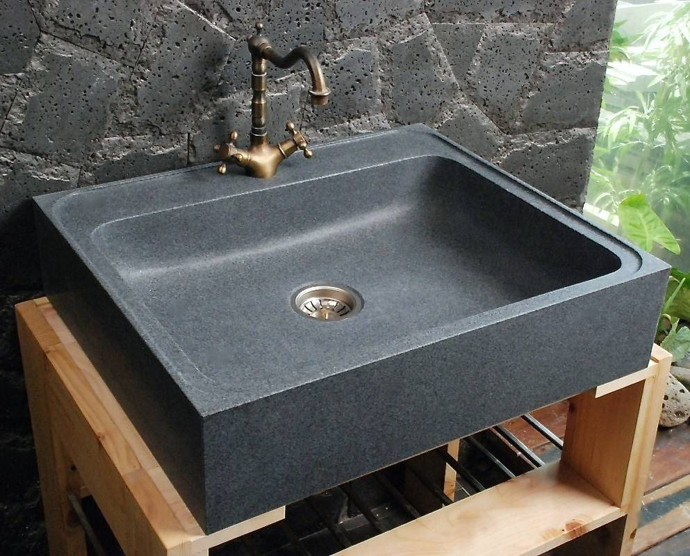 LivingRoc Evier en Pierre Granit véritable spécial cuisine 70x60 LAGOS