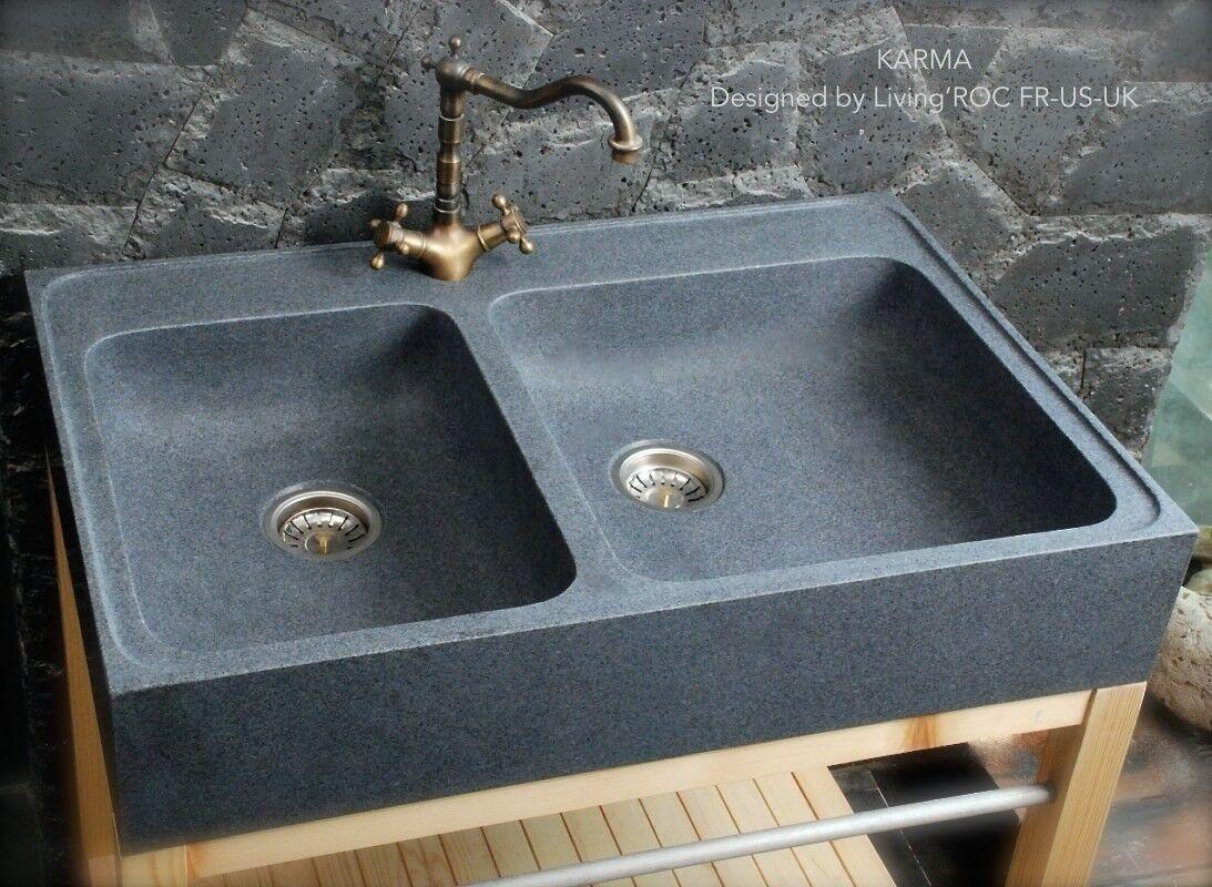 LivingRoc Évier en pierre granit véritable Spécial cuisine 90x60 KARMA