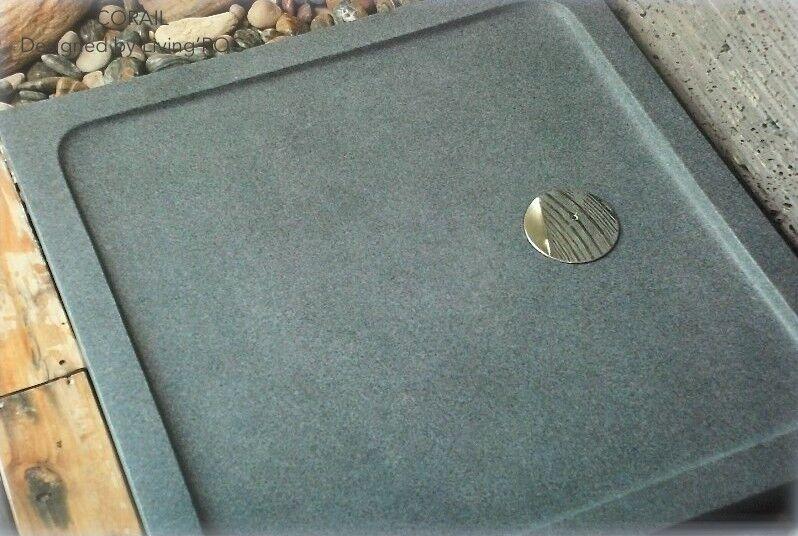 LivingRoc Bac de douche à l'italienne 80x80 en pierre granit véritable CORAIL