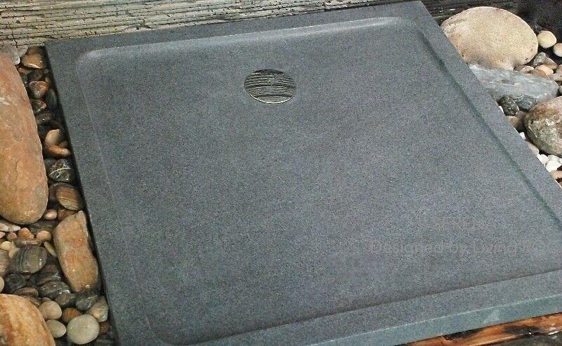 LivingRoc Receveur de douche 90x90 en granit véritable extra plat SERENA