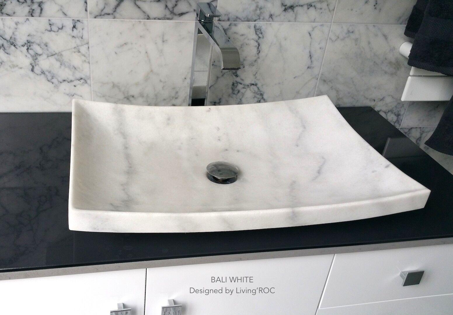 LivingRoc Vasque en pierre marbre Blanc salle de bain à poser BALI WHITE