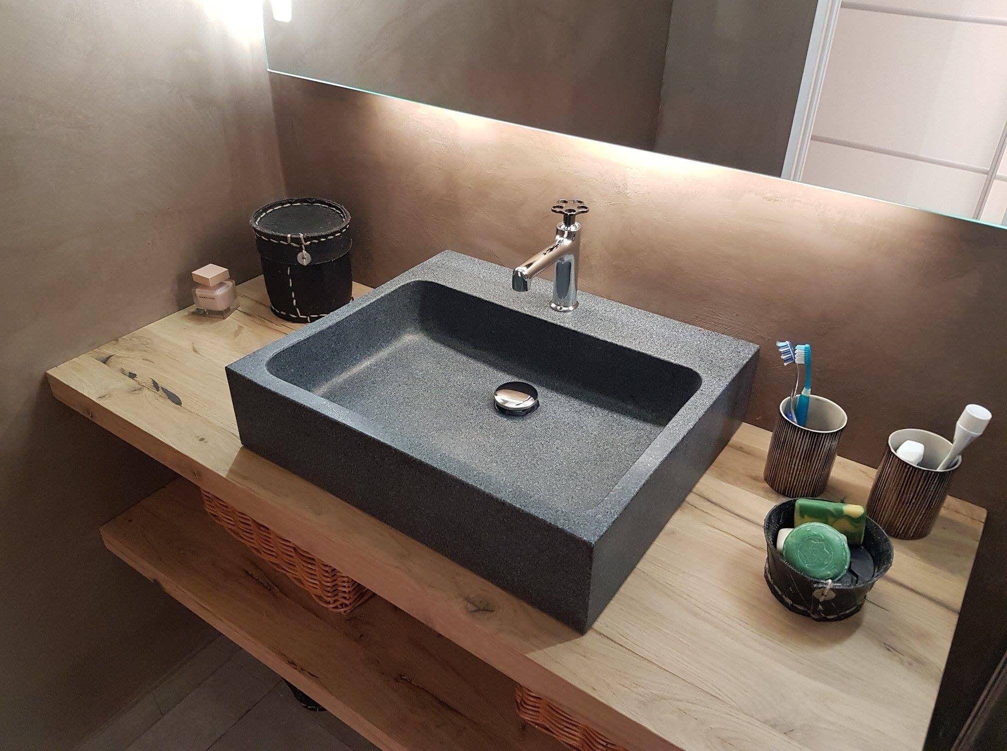 LivingRoc Vasque salle de bain évier granit gris trou robinetterie intégré ALPHA