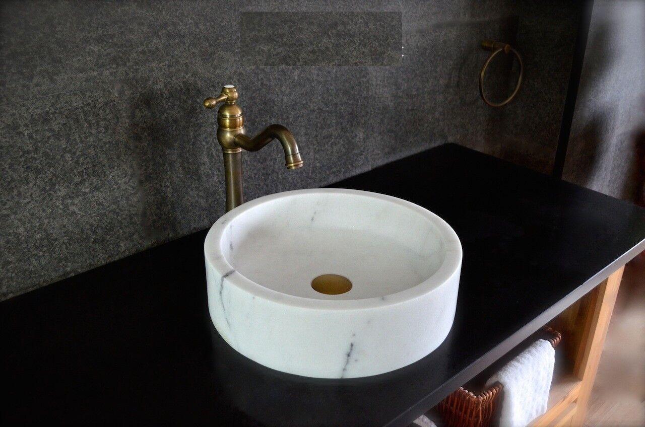 LivingRoc Vasque salle de bain à poser en pierre marbre blanc RONDO WHITE
