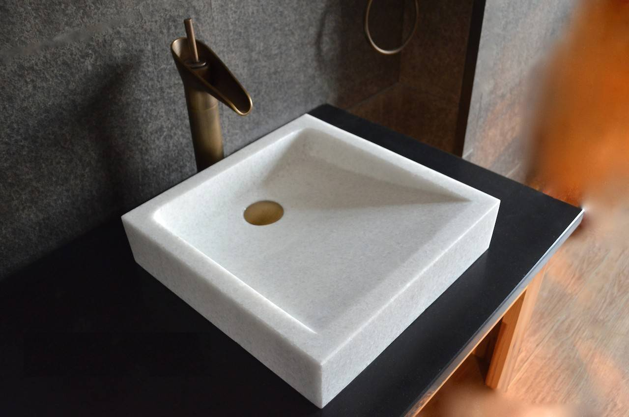 LivingRoc Vasque en pierre blanche marbre salle de bain à poser KIAMA WHITE
