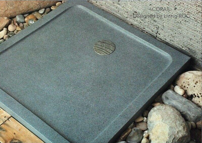 LivingRoc Receveur de douche 70x70 pierre granit véritable PARIS