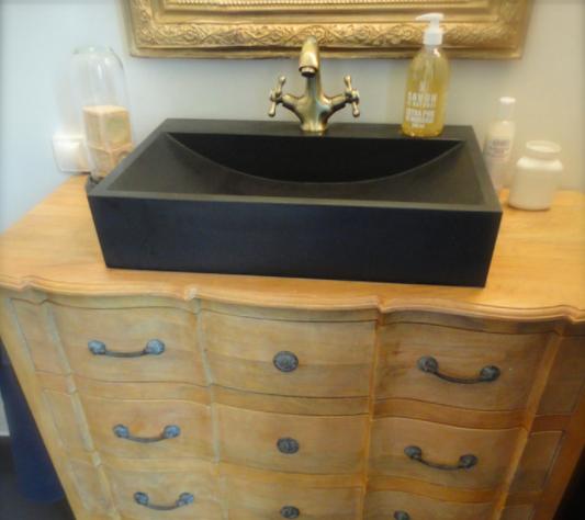 LivingRoc Vasque en pierre salle de bain noire 60x40 PEGASUS SHADOW