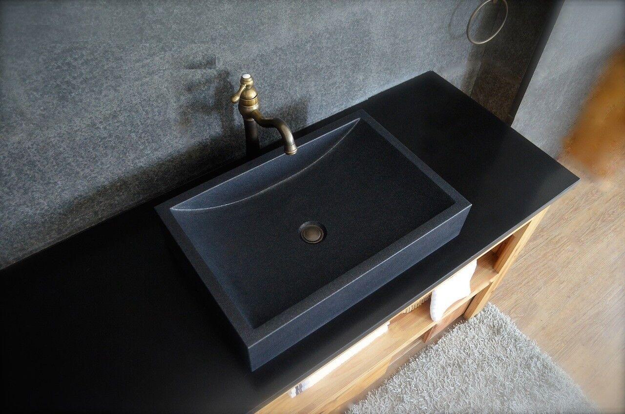 LivingRoc Vasque en pierre granit noir véritable luxe TORRENCE SHADOW
