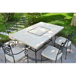 LivingRoc Table jardin pierre naturelle 160-200-240 mosaïque marbre MONTE CARLO - Publicité