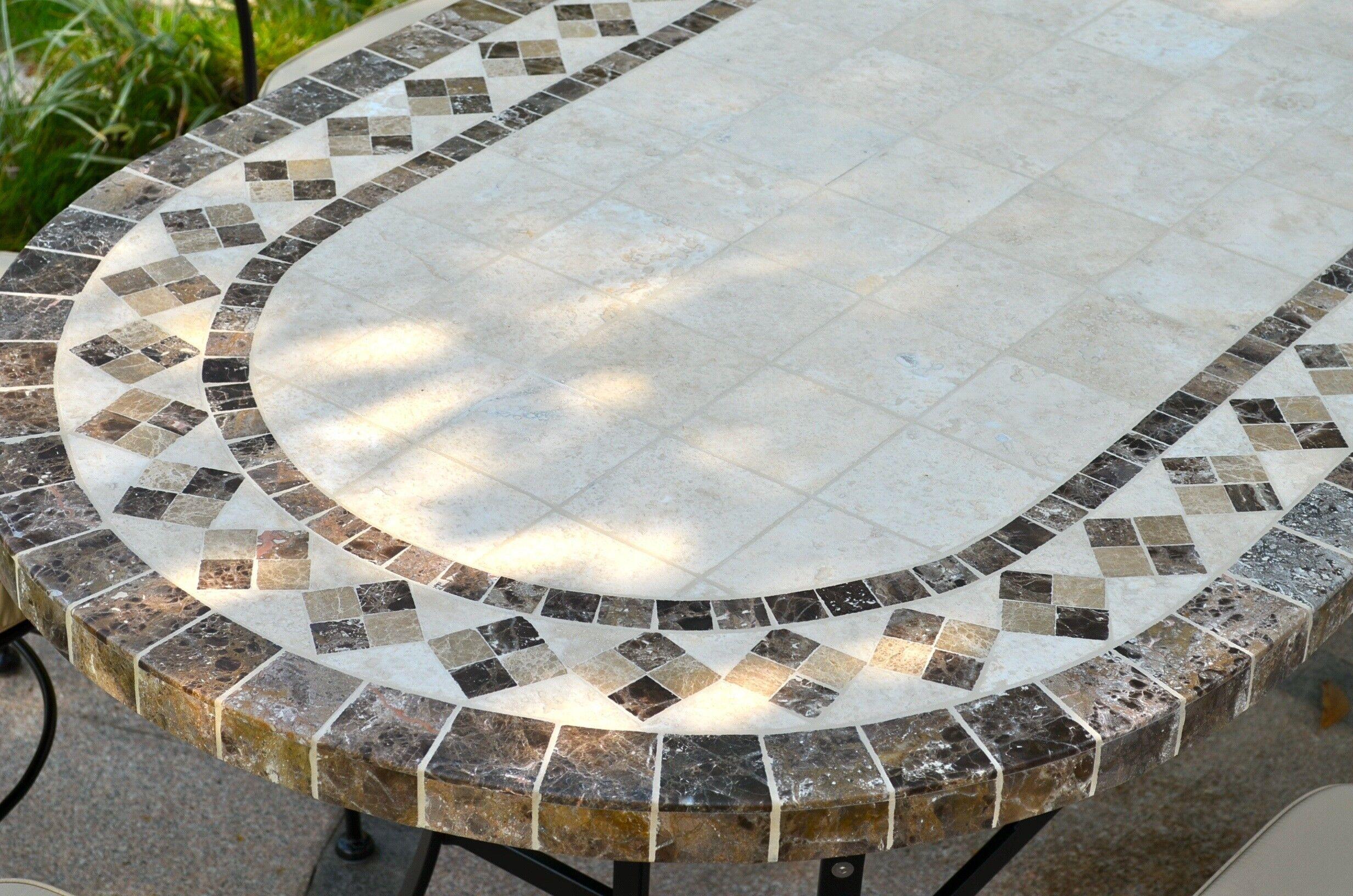 LivingRoc Table de jardin mosaique 120-160-180-240 ovale marbre travertin OVALI