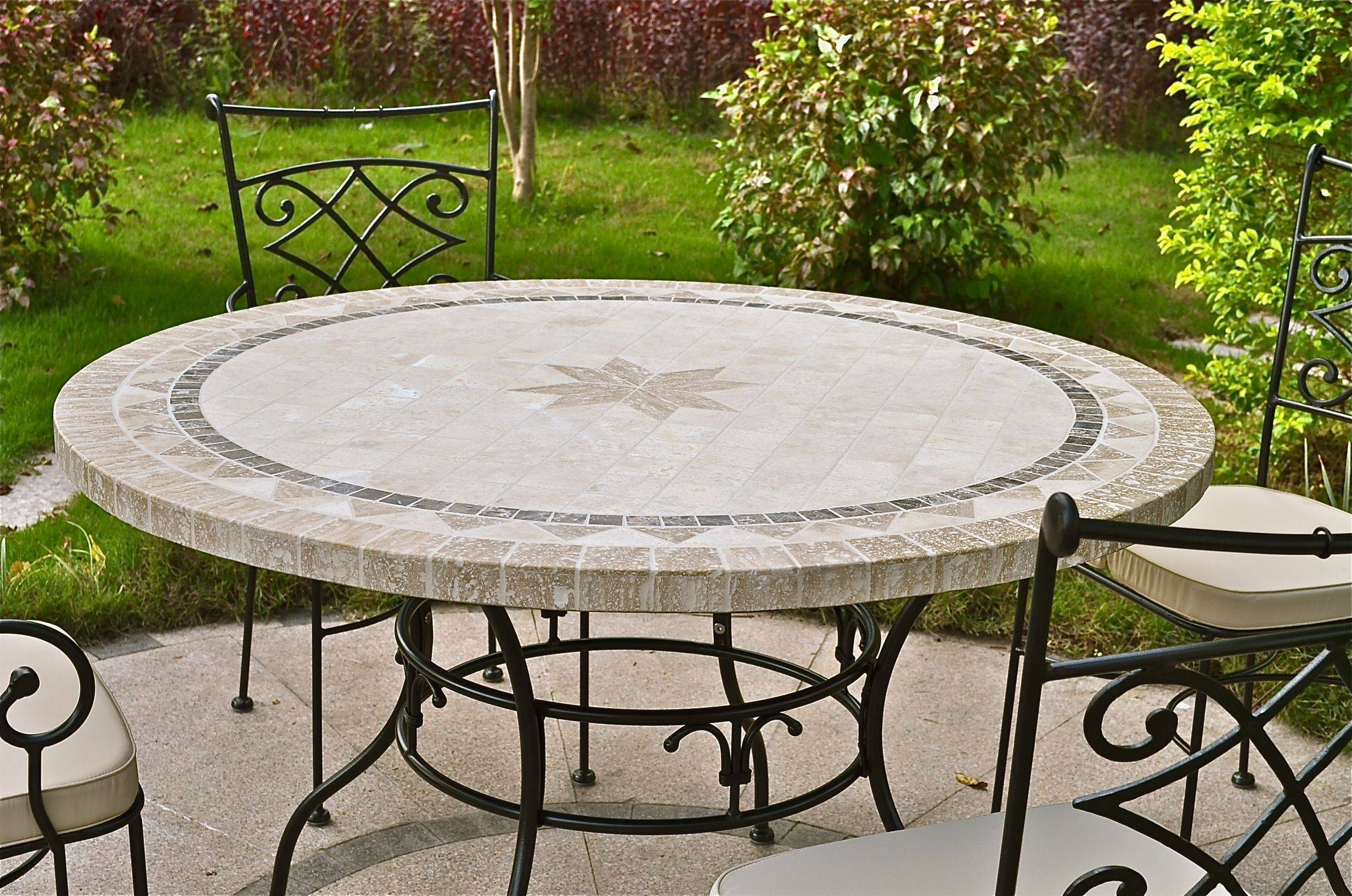 LivingRoc Table de jardin ronde pierre mosaïque marbre 90-125-160 MEXICO