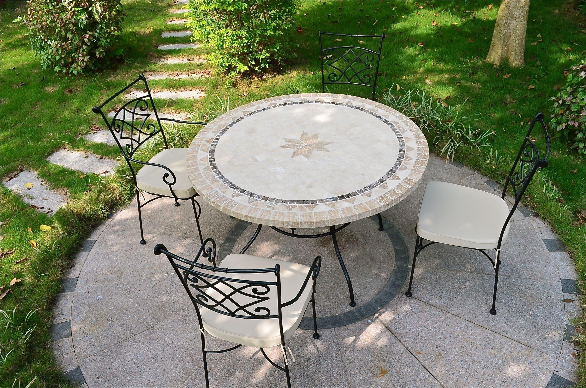 LivingRoc Table de jardin pierre ronde mosaique marbre 125-160 MEXICO