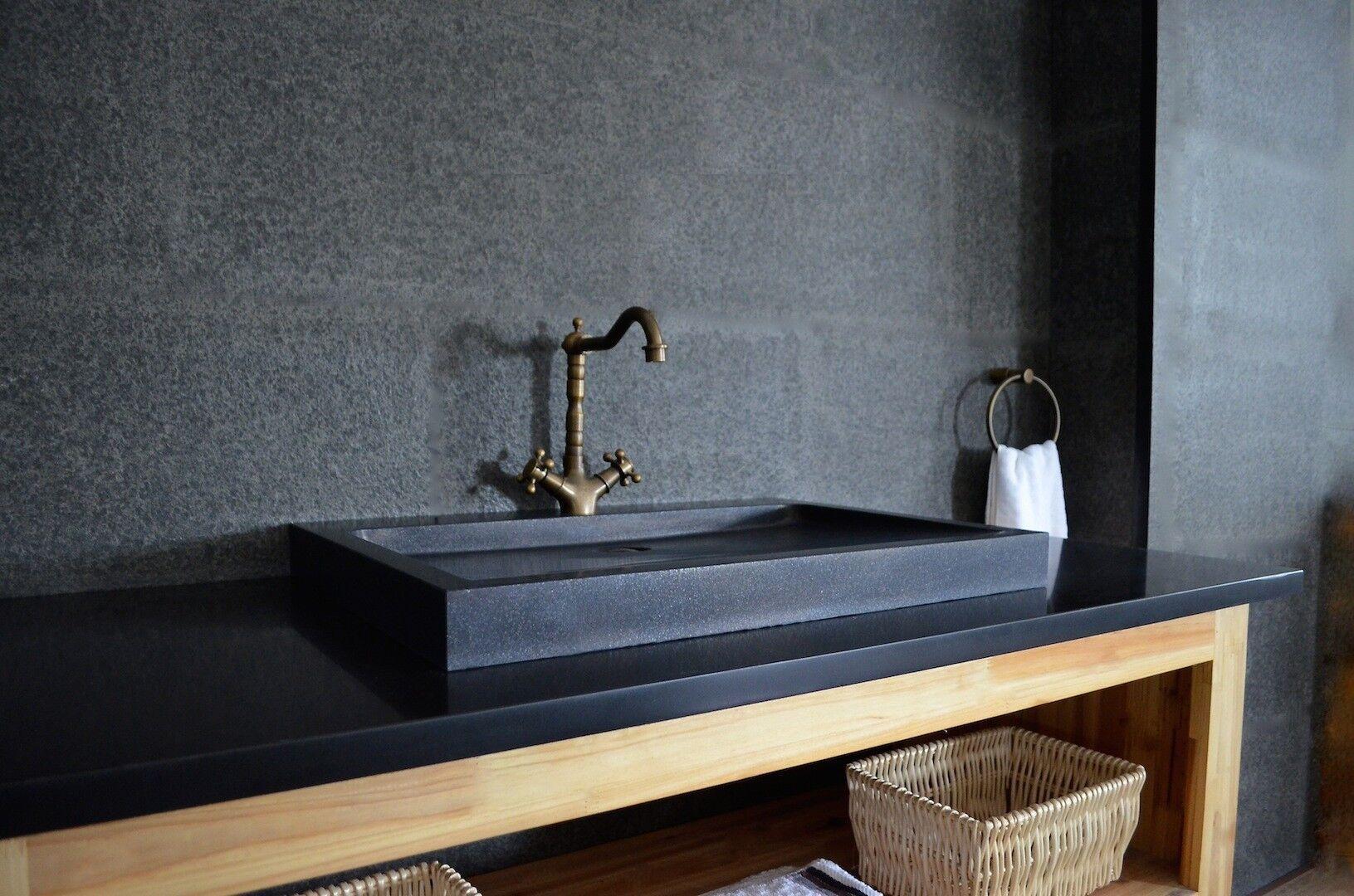 LivingRoc Vasque à poser salle de bain granit noir Luxe CALVI SHADOW