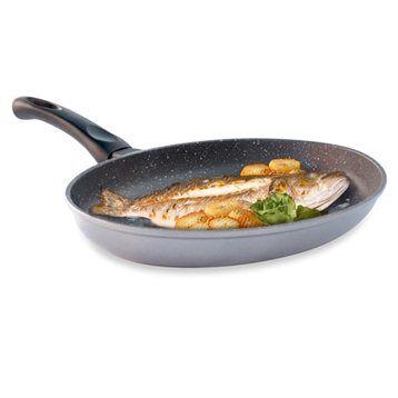 Mathon Poêle à poisson ovale revêtement Dur comme la pierre 34 cm Mathon