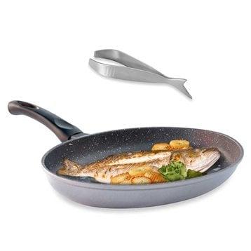 Mathon Lot Poêle à poisson Dur comme la pierre 34 cm et Pince à arêtes forme poisson Mathon