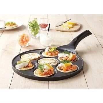 Mathon Poêle 7 mini blinis ou pancakes à induction fonte 26.5 cm Mathon