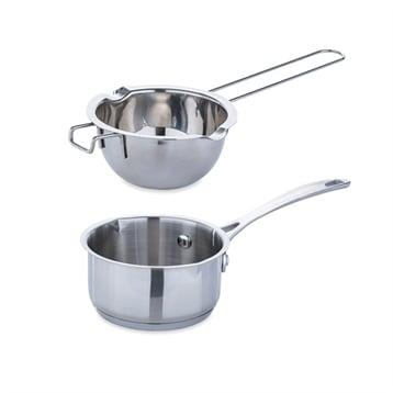 Mathon Lot petite casserole inox 12 cm et bol bain-marie inox 14 cm avec poignée longue Mathon
