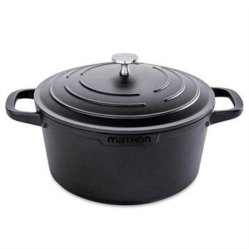 Mathon Cocotte légère ronde en fonte d'aluminium 24 cm 4,5 L coloris noir Mathon