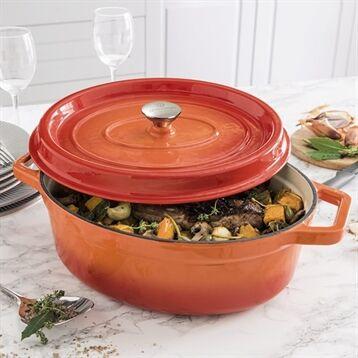 Mathon Cocotte en fonte orange ovale 33 cm Mathon