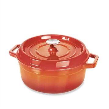 Mathon Cocotte en fonte d'acier émaillée ronde 28 cm coloris orange Mathon