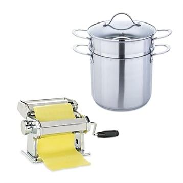 Mathon Lot cuit-pâtes inox 20 cm et machine à pâtes chromée Mathon