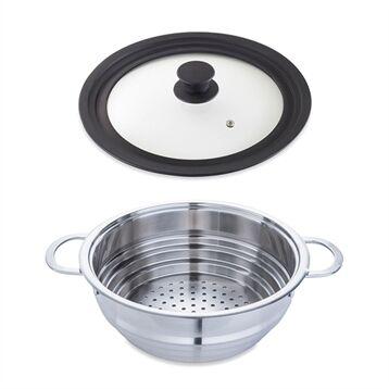 Mathon Lot panier vapeur multidiamètre 20, 22, 24 cm et couvercle en verre multidiamètre Mathon