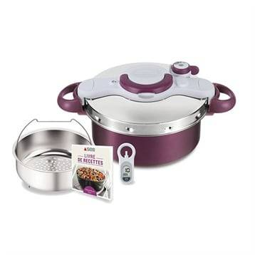 Seb Autocuiseur violet Clipsominut Duo 5 L avec minuteur et livre de recettes Seb