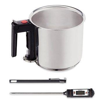 Mathon Lot Casserole saucier Bain-Marie 1,5 L et thermomètre digital de cuisine Mathon