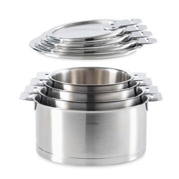 Cristel Lot de 4 casseroles et 4 couvercles Strate de 14 à 20 cm Cristel