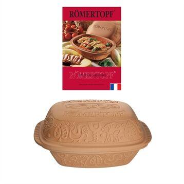 Römertopf Lot cocotte ovale terre cuite 39 cm et livre de recettes Römertopf