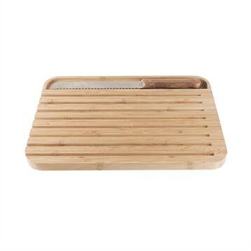 Set planche et couteau à pain intégré bambou Pebbly