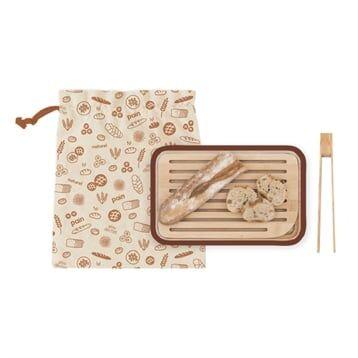 Pebbly Planche avec sac à pain et pince à toasts Pebbly