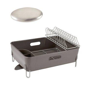 Mathon Lot Egouttoir à vaisselle avec bac et savon d'acier anti-odeurs Mathon