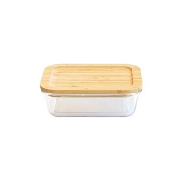 Pebbly Boîte rectangle verre couvercle bambou 1L Pebbly