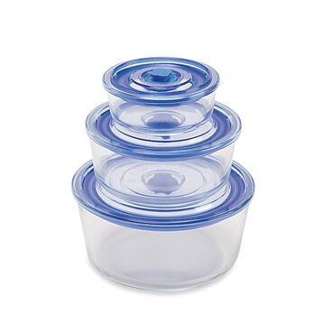 Mathon Set de 3 boîtes de conservation rondes en verre Mathon