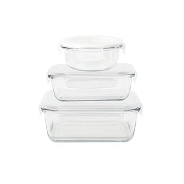 Pebbly Set de 3 boîtes de conservation en verre 620 - 650 - 800 ml Pebbly