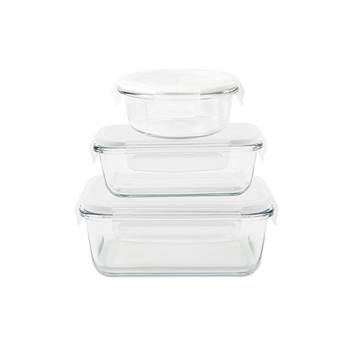 Pebbly Set de 3 boîtes de conservation en verre 620 - 650 - 800 ml Pebbly