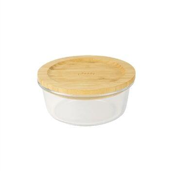 Pebbly Boîte ronde verre bambou 620 ml Pebbly