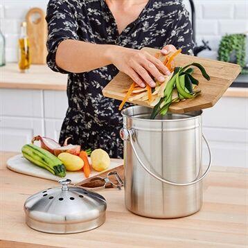 Mathon Seau à compost en inox 5 L avec filtres à charbon Mathon