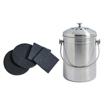 Mathon Lot seau à compost en inox 5 L et 4 filtres à charbon antiodeurs Mathon
