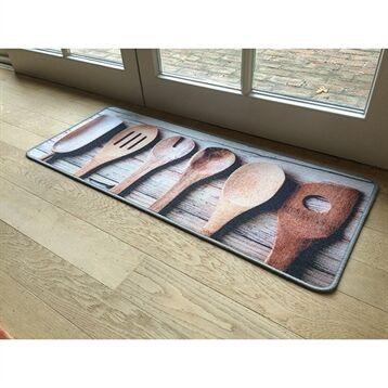 Tapis de cuisine motif service bois 120 cm