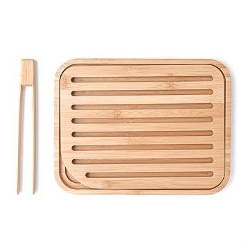 Planche à pain et pince à toast bambou 26 cm Pebbly