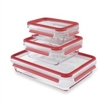 Emsa Set de 3 boîtes en verre Clip&Close; 0,5 0,9 2 L Emsa
