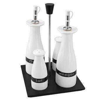 Lacor Set 4 pièces huile – vinaigre – sel – poivre Lacor