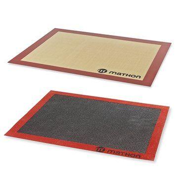Lot tapis de cuisson et tapis de cuisson perforé silicone et fibre de verre 40 cm Mathon