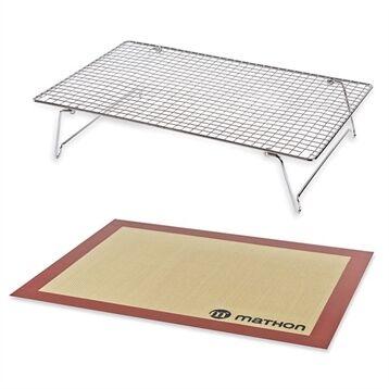 Mathon Lot Volette rectangulaire en inox avec tapis de cuisson en silicone Mathon