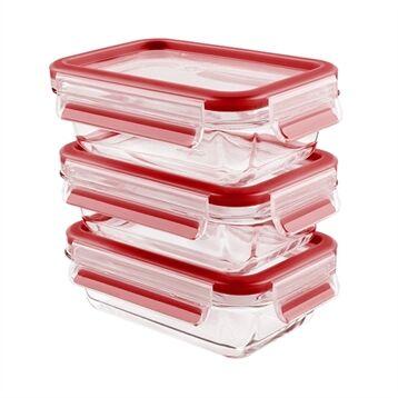 Emsa CLIP&CLOSE; lot de 3 boîtes alimentaire en verre - 500 ml Emsa